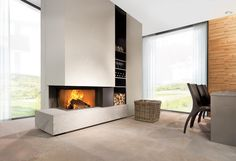 triple sides fireplaces - Google Search Modern Fireplace, Living Room With Fireplace, Fireplace Design, Interior Design Living Room, Modern Interior, Living Tv, Rich Home, Stove Fireplace, New Homes