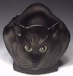 Cat Vases | Black Cat Vase Sculpture. Sgraffito decoration. Hawkdancing Studio.