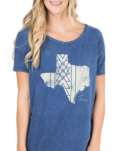 PPLA Women's Blue with Texas on Front Short Sleeve Casual Knit Top | Cavender's