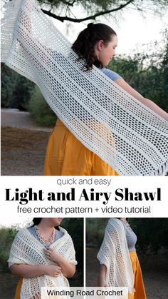 Crochet Shawl Free, Crochet Wrap Pattern, Crochet Shawls And Wraps, Quick Crochet, Crochet Scarves, Crochet Lace Scarf, Crochet Vests, Crochet Shirt, Crochet Motif