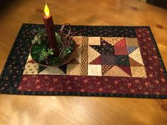Quilted Table Runner / Country Decor / Primitive Decor /