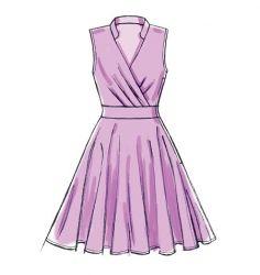 McCall's 7081 : Patrons de couture Flat Sketches, Dress Sketches, Fashion Sketches, Mccalls Patterns, Dress Sewing Patterns, Surplice Dress, Dress Drawing, Diy Dress, Fashion Flats
