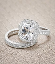 Then Fall In Love With Our Vintage Halo Emerald Cut Cz Wedding Ring Set This Stunning Ring