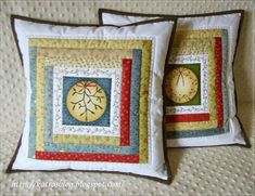 Image result for quilted pillows with cross stitch or embroidery