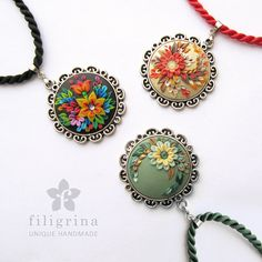 Handmade pendant FIRE FLOWER with floral motif in by Filigrina