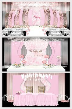 Modern minimalist theme wedding scene layout renderings#pikbest#decors-models Pink Wedding Decorations, Backdrop Decorations, Backdrops, Wedding Backdrop Design, Wedding Stage Design, Wedding Scene, Wedding Set Up, Japanese Theme Parties, Pink Themes