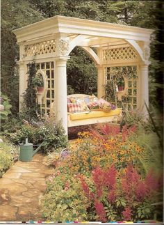 What a beautiful pergola for this swing!