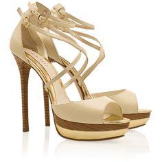 ELIE SAAB Ankle Strap Platform Sandals ($274) ❤ liked on Polyvore