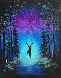 Join us for a Paint Nite event Tue Nov 2018 at 2509 St SW Lynnwood, WA. - Join us for a Paint Nite event Tue Nov 2018 at 2509 St SW Lynnwood, WA. Purchase your tic - Canvas Painting Tutorials, Acrylic Painting Canvas, Collage Des Photos, Galaxy Painting, Night Sky Painting, Forest Painting, Deer Art, Beautiful Nature Wallpaper, Pastel Art