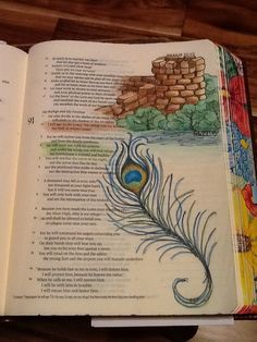 Psalm 91: 2 and 4. Sherrie Bronniman - Art Journaling: In My Bible