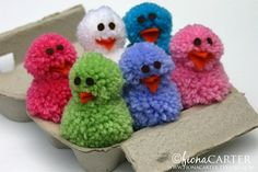 Cute little pom pom chicks to make - a great easter craft for the boys