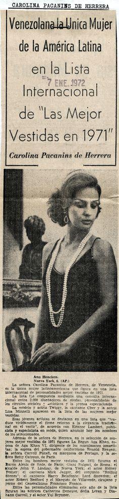 """Carolina Pacanins de Herrera, la única mujer latina en la Lista Internacional de """"Las mejor vestidas en 1971"""""""