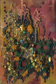 Embroidered and beaded fabric postcard  by sharonb (via stitchin fingers)
