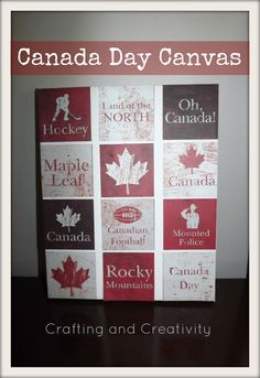 Crafting and Creativity: Canada Day Canvas - use any paper you like Canada Day 150, Canada Day Party, O Canada, Canada Travel, Home Crafts, Crafts For Kids, Diy Crafts, Canada Day Fireworks, Canada Day Crafts