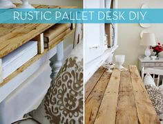 How To: Make a Rustic Storage Desk from Wooden Pallets. Could be altered to work for garden/greenhouse storage. Diy Wood Pallet, Pallet Desk, Pallet Crates, Diy Pallet Projects, Wooden Pallets, Pallet Furniture, Furniture Projects, Rustic Furniture, Woodworking Projects