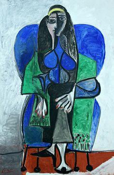 """""""Ser feliz é não ter medo dos próprios sentimentos."""" Fernando Pessoa - Pablo Picasso: Seated woman with green scarf, 1960."""