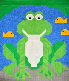 Frog Quilt Pattern with instructions for 3 sizes by CountedQuilts
