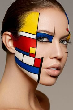 "Face Art, by Yoan Perez, ""Mondrian"" inspiration, Photo by Damien Mohn. Face Art, by Yoan Per Body Makeup, Eye Makeup, Hair Makeup, Fashion Bubbles, Art Visage, Extreme Makeup, Fantasy Makeup, Costume Makeup, Face Art"