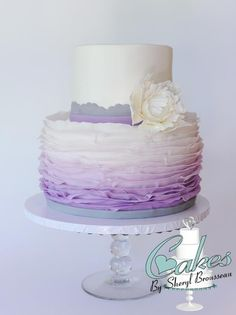 Purple Ombre Frilled Cake w/ Sugar Peony
