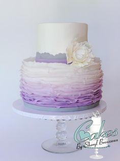 Purple Ombre Frilled Cake w/ Sugar Peony