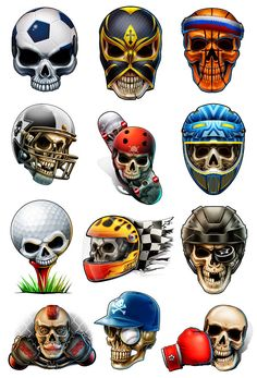 Stocking Stuffers for Boys - Sport Skulls Temporary Tattoos