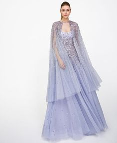 Marielle & Odetta - Lavender embellished strapless tulle gown with coordinating cape. Pink Evening Dress, Chiffon Evening Dresses, Evening Gowns, Lavender Gown, Lavender Colour, Jenny Packham Bridal, Cape Gown, Tulle Gown, Designer Gowns