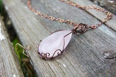 Rose Quartz Necklace, Rose Quartz Teardrop Pendant, Copper Wire Wrapped Necklace, Natural Gemstone, Handmade Necklace, Gemstone Jewelry by BrigidsMoonCreations on Etsy