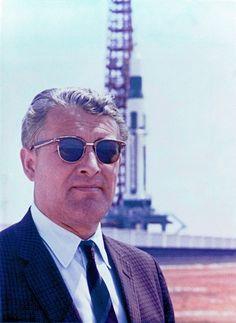 Werner Von Braun stands in front of the Saturn 1 rocket. via reddit