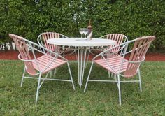 Vintage Italian Patio Set  RARE  Four Blush Pink by SoulfulVintage