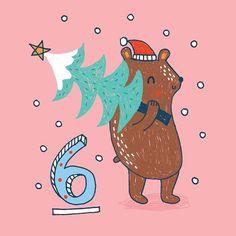 My Owl Barn: Christmas Advent Calendar Illustrations 2016 - Part I Owl Christmas Tree, Wooden Christmas Trees, Christmas Countdown, Christmas Themes, White Christmas, Christmas Wreaths, Owl Wreaths, Countdown Calendar, Tis The Season