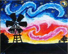 Starry Night over Lubbock - New Braunfels, TX Painting Class - Painting with a Twist, next Friday?