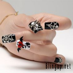 cool now i can buy awesome nails Black Nail Tips, Black Nails, 3d Nail Art, Nail Art Set, Halloween Nails, Halloween Nail Designs, Halloween Ideas, Metal Beads, Nailart