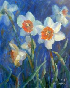 (March) - Daffodil Medley Painting by Carolyn Jarvis - Daffodil Medley Fine Art Prints and Posters for Sale
