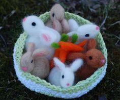 Needle Felted Basket of Bunnies