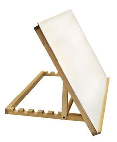 This solidly made table-top drawing table works as a portable, compact slant board and as a lightbox when a lightsource is added beneath the plexiglass. Durably constructed of smoothly finished wood, our easel features seven settings for your choice of angles. Easel is 18'x24'.
