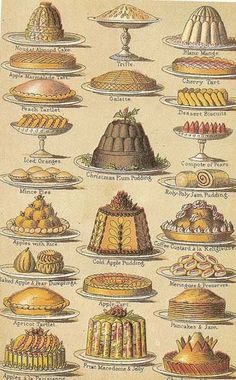 A selection of puddings taken from Mrs Beeton's Book of Household Management.