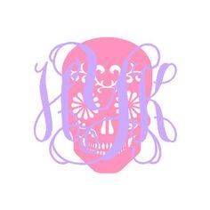 Monogrammed Sugar Skull Decal  Monogrammed by GeorgiaRestoration, $2.00