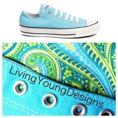 Blue Paisley Custom Converse