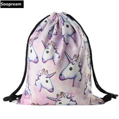3D Printing Backpack Unicorn Women  Backpack  travel softback women mochila drawstring bag School girls backpack