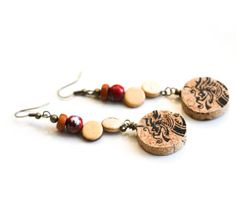 Recycled Cork Earrings, Chinese Dragon Earrings, Rustic Jewelry, $17.99