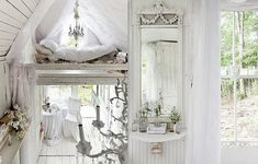 interior of tiny victorian cottage Beach Cottage Style, Romantic Cottage, Cottage Chic, Cottage House Plans, Cottage Homes, Little White House, Victorian Cottage, Victorian Homes, Sleeping Loft