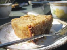 bread pudding in the great outdoors.  a cup of coffee or tea and some fresh air make this mildly sweet dessert so much better.