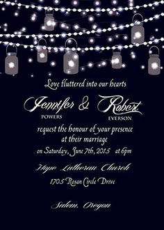 sparkle string lights mason jars country wedding invitations EWI398
