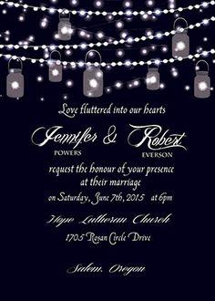 sparkle string lights mason jars country wedding invitations EWI398