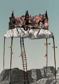 Eda Akaltun, City in the Sky, based on Italo Calvino's Invisible Cities. Photomontage, Atelier Theme, Utopia Dystopia, City Sky, City In The Sky, Invisible Cities, Future City, Collage Art, City Collage