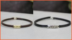 """A narrow bar features an inspirational word on a thin leather bracelet. Wear this bracelet daily to remind you of how much you are loved. Measurement: Fits up to wrist Materials: Brass with chocolate leather – the silver band reads """"XO"""" Love Bracelets, Bangles, Scarlet, Black Leather, Brass, Inspirational, Chocolate, Fit, Bracelets"""