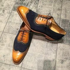 Handmade Wing Tip Oxford Shoes Navy Tan Formal Dress Tuxedo Leather Shoes Men - Dress/Formal Suede Shoes, Lace Up Shoes, Leather Shoes, Men's Shoes, Shoe Boots, Dress Shoes, Shoes Men, Dress Clothes, Suede Leather