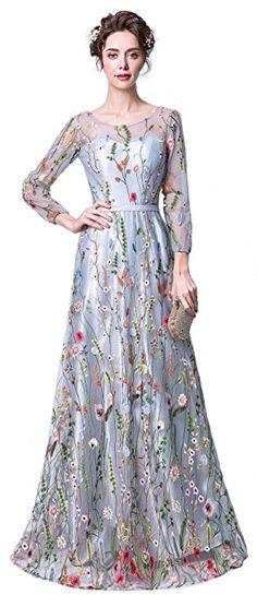 Risestaryiding Women's Dress Navy Blue Zipper Back Floral Embroidery Long Sleeves Evening Dresses (4, Gray)