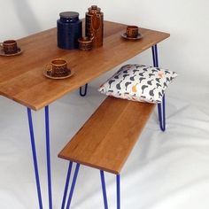 Dining set, In Cherry-Wood, Hairpin Legs, Industrial Furniture, table, bench, Handmade, Eames, Mid-century.