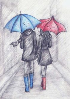 The blue umbrella. I love the blue umbrella. Cute Couple Drawings, Cute Drawings, Drawing Sketches, Pencil Drawings, Drawing Ideas, Sketching, Hipster Drawings, Drawing Faces, Drawing Tips